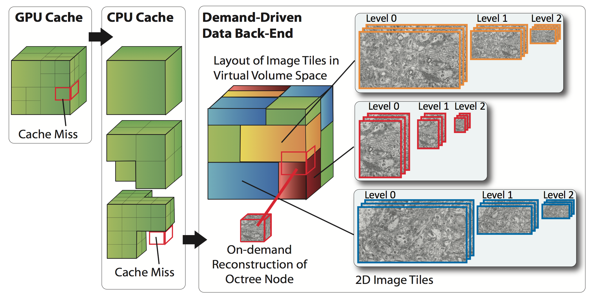 Demand-driven volume rendering of terascale EM data