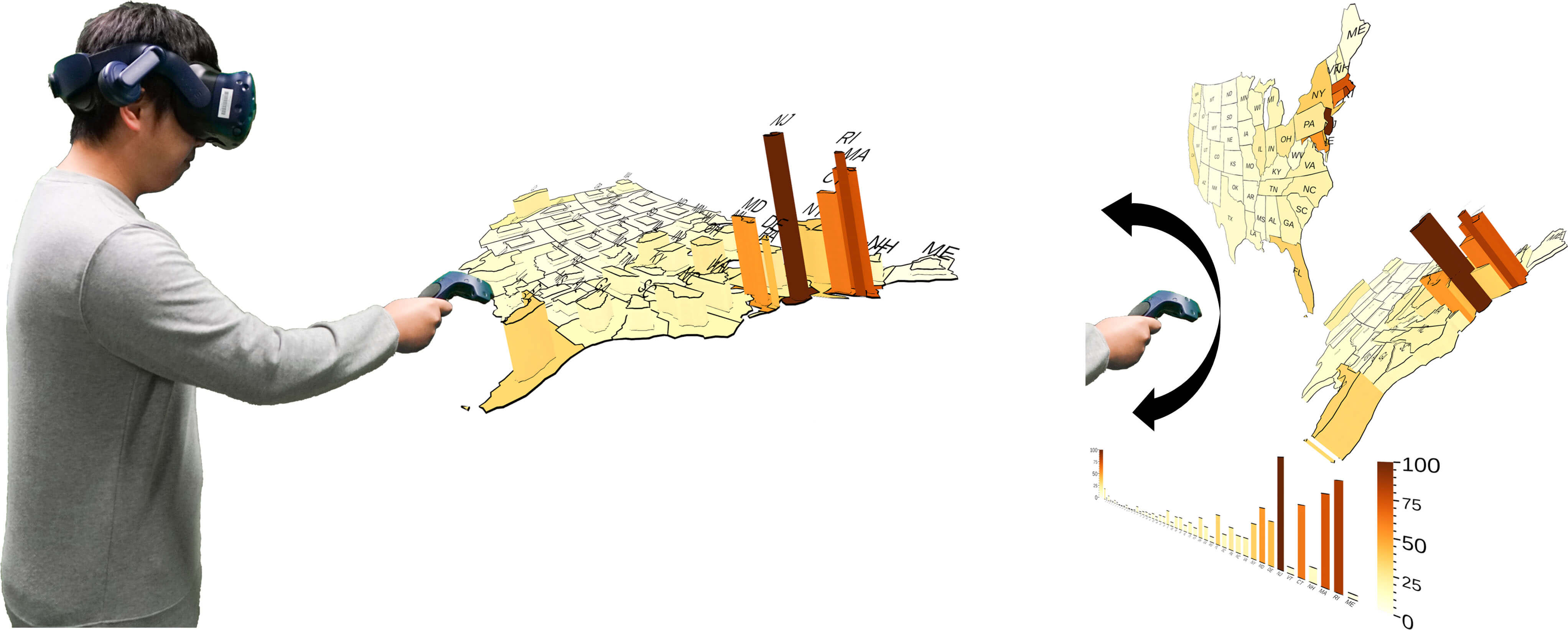 Tilt Map: Interactive Transitions Between Choropleth Map, Prism Map and Bar Chart in Immersive Environments